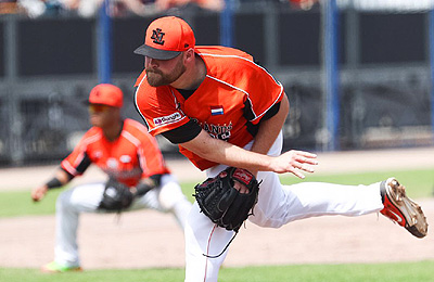 Pitcher Tom Stuifbergen hield Japan vijf innings lang puntloos.
