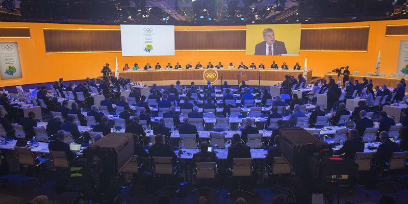 Overzicht van de 129e IOC-sessie in Rio de Janeiro.