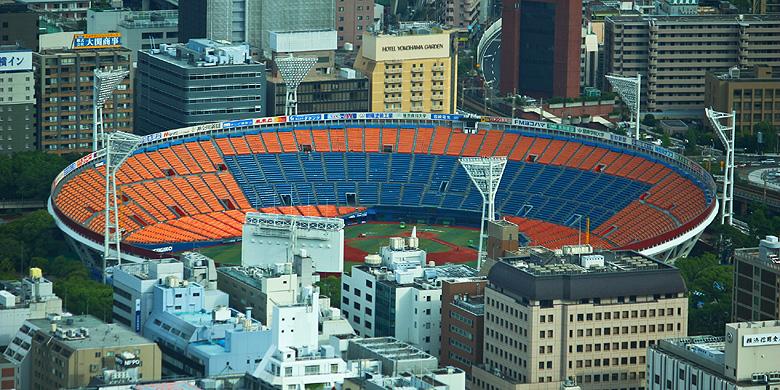 Een overzicht van het Yokohama Stadium.