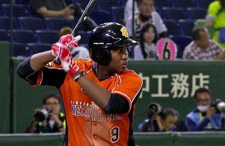 Juremi Profar in actie tijdens de eerste wedstrijd van de Warm-up Games tegen Japan afgelopen november in Tokyo.