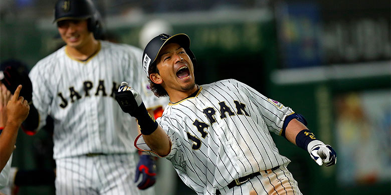 Nobuhiro Matsuda sloeg met een homerun drie punten binnen in de wedstrijd tegen Cuba.