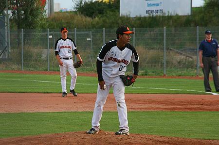 Winnend pitcher Kyshon Giterson stond slechts één onverdiend punt toe.