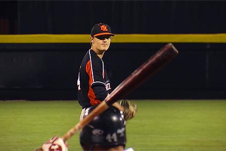 Winnend pitcher Colin van Laar.
