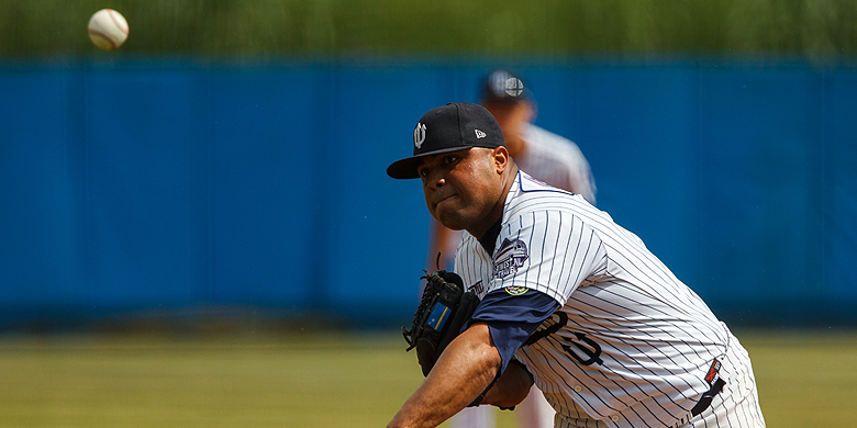 Pitcher Diegomar Markwell stond in negen innings geen enkel punt toe.
