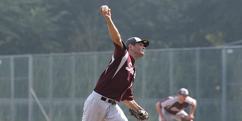 Storks-pitcher Martin Kram gooide zaterdag 8 1/3 inning.
