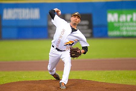 Voor de tweede keer in deze Holland Series gooide pitcher Rob Cordemans een sterke wedstrijd.