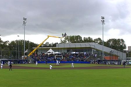 Sportpark Ookmeer tijdens de vijfde en beslissende wedstrijd.