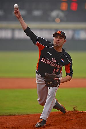 Startend pitcher Rob Cordemans kwam tot acht strikeouts.