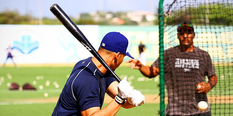 Andrelton Simmons tijdens een training op Curaçao.