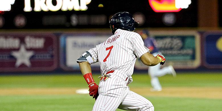 Jiandido Tromp kwam in de achtste inning in actie als pinch-runner.