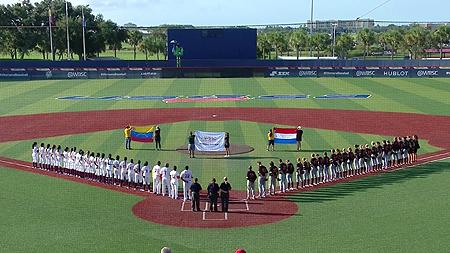 Line-ups voor de wedstrijd tegen Venezuela.