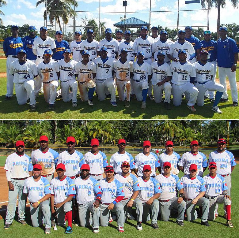 De selecties van Curaçao (boven) en Aruba (onder).