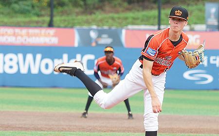 Pitcher Gio de Grauw had tegen China zijn eerste start voor het U18 Koninkrijksteam.