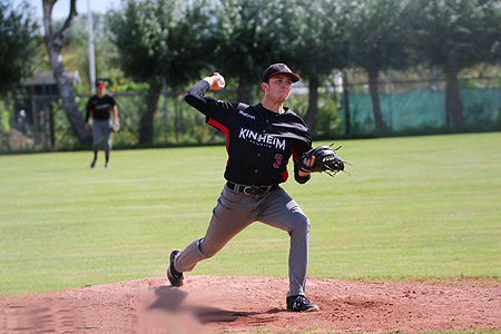 Winnend pitcher Martijn Schoonderwoerd (Kinheim).