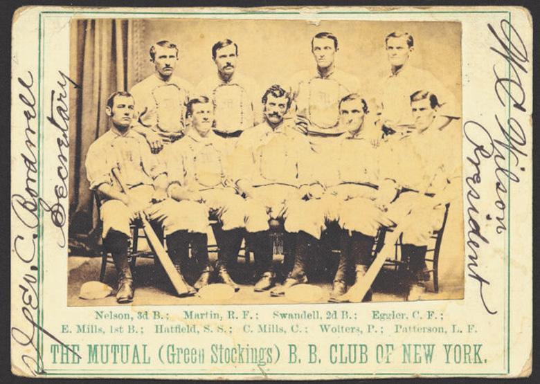 The New York Mutuals rond 1870, met Rynie Wolters zittend, tweede van rechts. Bron: collectie John Thorn.